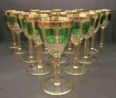 9 Antique Moser Cut Crystal Gold and Green Wine Glasses - Devonia Antiques