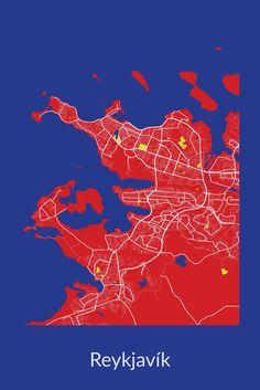 Reykjavik, Iceland   red embers + snow white + freezing ocean blue + yellow rays   $49.95