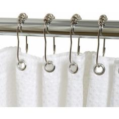 Zenna Home Roller Shower Rings provide smooth gliding action along any shower rod. The rings work with any standard shower rod to hold a shower curtain or liner in place. The rings close securely to stay on the rod. Hotel Shower Curtain, Double Shower Curtain, Shower Curtain Rings, Bathroom Shower Curtains, Fabric Shower Curtains, Roller Design, Shower Rod, Curtains With Rings, Curtain Designs