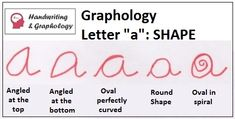 Handwriting Analysis Letter A lowercase. Learn graphology letter by letter. Meaning of letter a in graphology. Letter E, Open Letter, Handwriting Analysis, Handwriting Ideas, Handwriting Recognition, Cursive Letters, Palm Reading, Feelings And Emotions, Psychology Facts