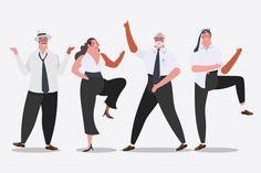 Векторные иллюстрации. Бизнес-команда танцует на вечеринке Бесплатные векторы
