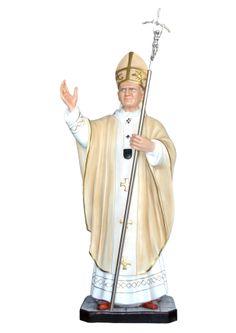 S. Giovanni Paolo II cm. 130 altezza cm. 130 in vetroresina dipinto con colori acrilici e finiture ad olio disponibile anche con occhi di vetro  http://www.ovunqueproteggimi.com/collezione-statue/santi/giovanni-paolo-ii/