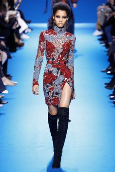 Elie Saab | Fall 2016 Ready-to-Wear | 10 Red/blue beaded belted long sleeve mini dress with side slit