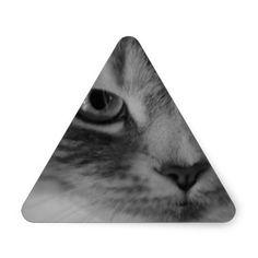 Cat (Black & White) Triangle Stickers