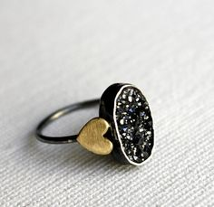 Black Druzy Ring With Brass Hearts