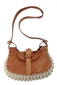"""Leather and crochet cotton cord bag, hand-made in Brazil. Measures 14.5"""" x 12.5"""""""