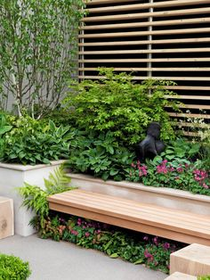 """For under the deck: """"Plant Shade Loving Perennials Under Garden Bench: This secluded part of the garden features shade loving perennials planted under a garden bench that adds interest and color to this corner of the garden. Back Gardens, Small Gardens, Outdoor Gardens, Garden Pictures, Garden Photos, Landscape Design, Garden Design, Pergola, Corner Garden"""