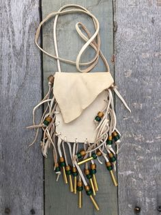 Handmade Light Deerskin Bag Pouch with Glass Beads with Fringe All Around | eBay
