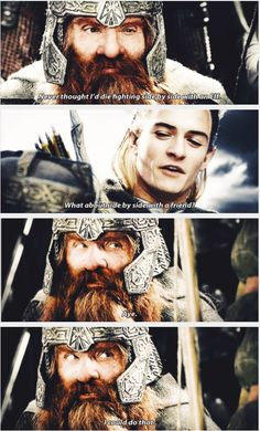 Legolas and Gimli - Friendship <3 -- Lord of the Rings. These two are seriously my favorite part of the show <3