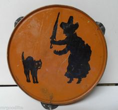 Vintage Halloween Noisemaker ~ Tin Tambourine w/ Witch & Black Cat * Circa, 1950's