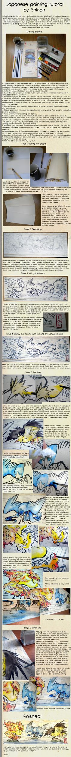 Japanese painting tutorial by ShadeofShinon on DeviantArt Watercolor Techniques, Painting Techniques, Watercolor Ideas, Watercolour Painting, Watercolors, Japanese Watercolor, Japanese Painting, Pokemon Painting, Drawing Reference