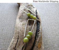 Modern Sterling Silver Earrings w/h Green Gemstone.Elegant Style : Elegant Sterling Silver Earrings, Modern Hoop Earrings, Gemstone Earrings