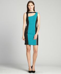 Marc New York turquoise and black flocked faux leatehr trimmed open back dress