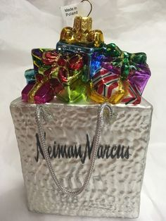"NEIMAN MARCUS Shopping Bag Presents Christmas 5-3/4"" Glass Ornament  | eBay"