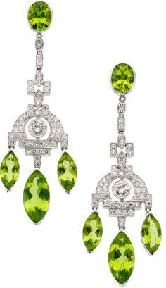 Peridot, Diamond, Platinum Earrings. ... Estate JewelryEarrings | Lot #58253 | Heritage Auctions