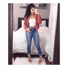 """How Gorgeous Does Our #NovaBabe, @mpalafox15 Look in FN! Tag Us @FashionNova #FashionNova For A Chance To Be Featured  IF your profile is private, DM us your HOTTEST pic  Search: """"Classic High Waist Skinny Jeans"""" Search: """"Notorious Jacket"""" ✨www.FashionNova.com✨"""