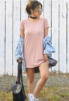 42 The Best T-Shirt Dress Outfit Ideas Perfect For Fall Season Spring Outfits, Trendy Outfits, Casual Teen Outfits, Casual Ootd, Streetwear, Teen Fashion, Fashion Outfits, Dress Fashion, Style Fashion