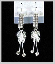 Boucles d oreilles perles-strass-métal argenté-pendantes-diamant-cristal-cerise