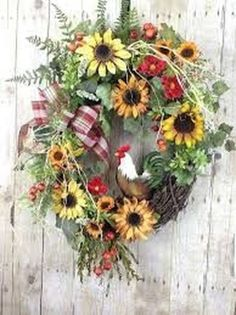 Stylish 50 Pretty Hang Wreath Ideas In Door For Summer Time Summer Door Wreaths, Fall Wreaths, Wreaths For Front Door, Christmas Wreaths, Front Porch, White Christmas Lights, Outdoor Wreaths, Spring Door, Sunflower Wreaths