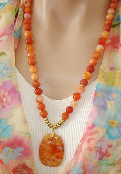 ASHIRA Orange Botswana Agate & Jasper Pendant Long Necklace