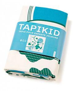 Tapis de jeu en coton bio Tapikid de DEUZ (sérigraphie 2 Bleu) - vente de couvertures et tapis de jeux enfant bio