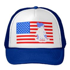 4th of July American Dream Girl USA Tattoo Stars and Stripes  Trucker Hat.  (15% OFF)