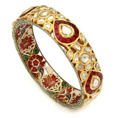 Raza bracelet - 22k gold, uncut diamonds, rubies bangle with enamel detail on the inside and hinge closure #kundan