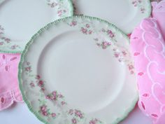 Lovely Vintage Pope Gosser Pink Green Rose Dessert by thechinagirl