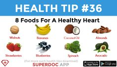 "Foods for a Healthy Heart"" Banana Coconut, Coconut Oil, Heath Tips, Strawberry Blueberry, Daily Health Tips, Healthy Heart, Spinach, Avocado, Beef"