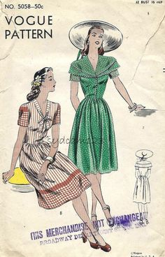 Vogue 5058 Vintage 1944 Double Collar or Tie Collar Shirtwaist by sydcam123
