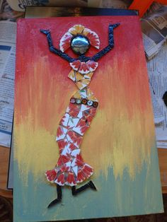 63. silhouette de jeune femme en mosaïque