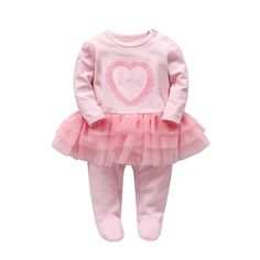 df8845bc2 Baby Girls Romper Tutu Dress Newborn Clothes Infant Cotton Love Print Long  Sleeve Bodysuits 912 Months