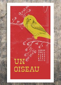 French Alphabet  Un Oiseau  Bird Print  by Bark Decor by barkdecor,