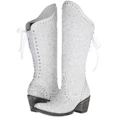 Old Gringo Ice Bride Women's Boots, White ($608) ❤ liked on Polyvore featuring shoes, boots, white, lace up cowboy boots, white western boots, lace up boots, cowgirl boots and white boots