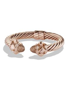 Y263C David Yurman Rose Gold Renaissance Bracelet with Cognac Diamond