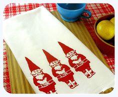 Kitchen Towel Red Gnome Tea Towel CUTE screenprint retro kitchen Indie Housewares via Etsy