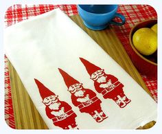 Gnome Tea Towel  home decor gnomes kitchen towels eco friendly gifts under 10 gift for mom screenprint Indie Housewares on Etsy, $10.00