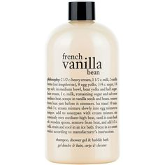 Philosophy French Vanilla Bean Ice Cream Shower Gel-16 oz. ($18) ❤ liked on Polyvore featuring beauty products, bath & body products, body cleansers and bubble bath