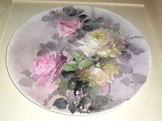 A ~ Original Handpainted 107 years old ~ Signed Franz A. from antiques-n-amour on Ruby Lane Pink Rose Flower, Yellow Roses, Flower Art, Pink Yellow, Fruit Painting, China Painting, Decoupage, Porcelain Ceramics, Painted Porcelain