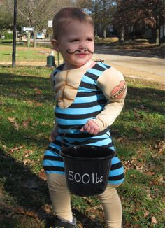 Strong man Costume- make the candy bucket his weight- genius!!
