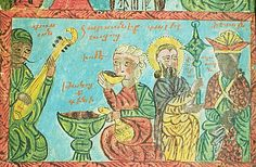 Armenian illustrated manuscript, haloed head of Christ second from right