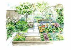 Długą i wąską przestrzeń, dodatkowo wygrodzoną z obu stron panelami, zamieniamy w efektowny ogródek pełen kolorowych kwiatów i owoców.