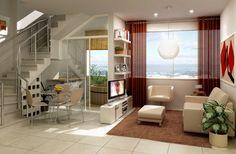 Um espaço bem pequeno e subdividido com pequenas paredes, adega abaixo da escada e ofurô.