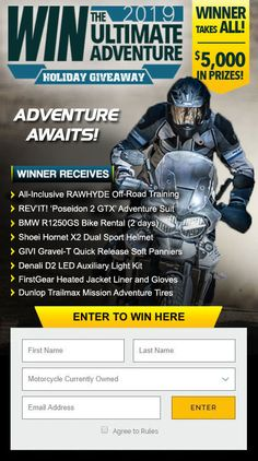 Enter the ADV Pulse Giveaway for a chance to win RawHyde Adventure Motorcycle Training, a REV'IT! Poseidon 2 Riding Suit, a Shoei Hornet Adventure Helmet with a 'Pair' of Cardo PackTalk Bold Bluetooth Headsets, GIVI Gravel-T Soft Panniers and More! Adventure Holiday, Adventure Gear, Greatest Adventure, Motorcycle Adventure, Dual Sport Helmet, Bmw Motorbikes, Honda Africa Twin, Klr 650, Motorcycle Events