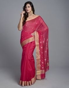 Silk Cotton Chanderi Padma Jaal Palla Sari