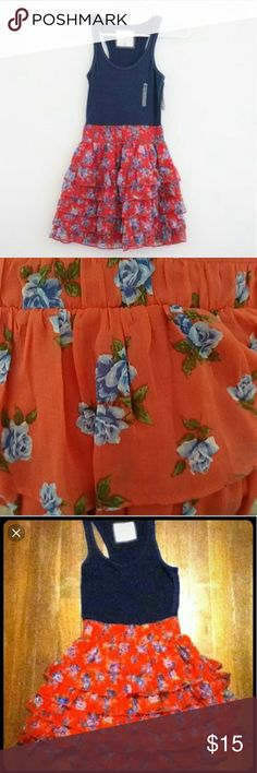 Beautiful floral girls dress Navy blue top with matching floral design on orange skirt. Size Large. Brand new, never worked. Without tags. Abercrombie & Fitch Dresses