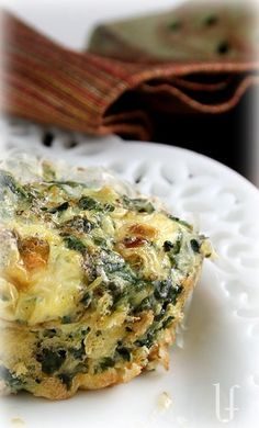 Spinach-Gorganzola Quiche Cups. Good for breakfast on the go - I used blue cheese, would like to try with gorgonzola.