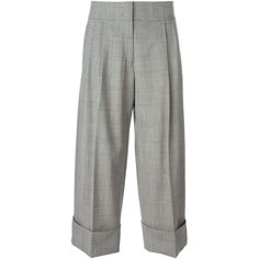 Antonio Marras Checked Wide Leg Cropped Trousers ($724) ❤ liked on Polyvore featuring pants, capris, black, black trousers, stretch pants, stretchy pants, wide-leg pants and black stretchy pants