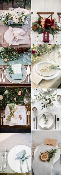 Greenery Wedding Place Setting Ideas #weddings #weddingideas #weddingtables / http://www.deerpearlflowers.com/greenery-wedding-place-setting-ideas/