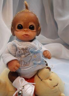 OOAK Baby Orangutan Monkey Boy Sculpted Polymer Clay Art Doll Winnie the Pooh #BreathofHeaven